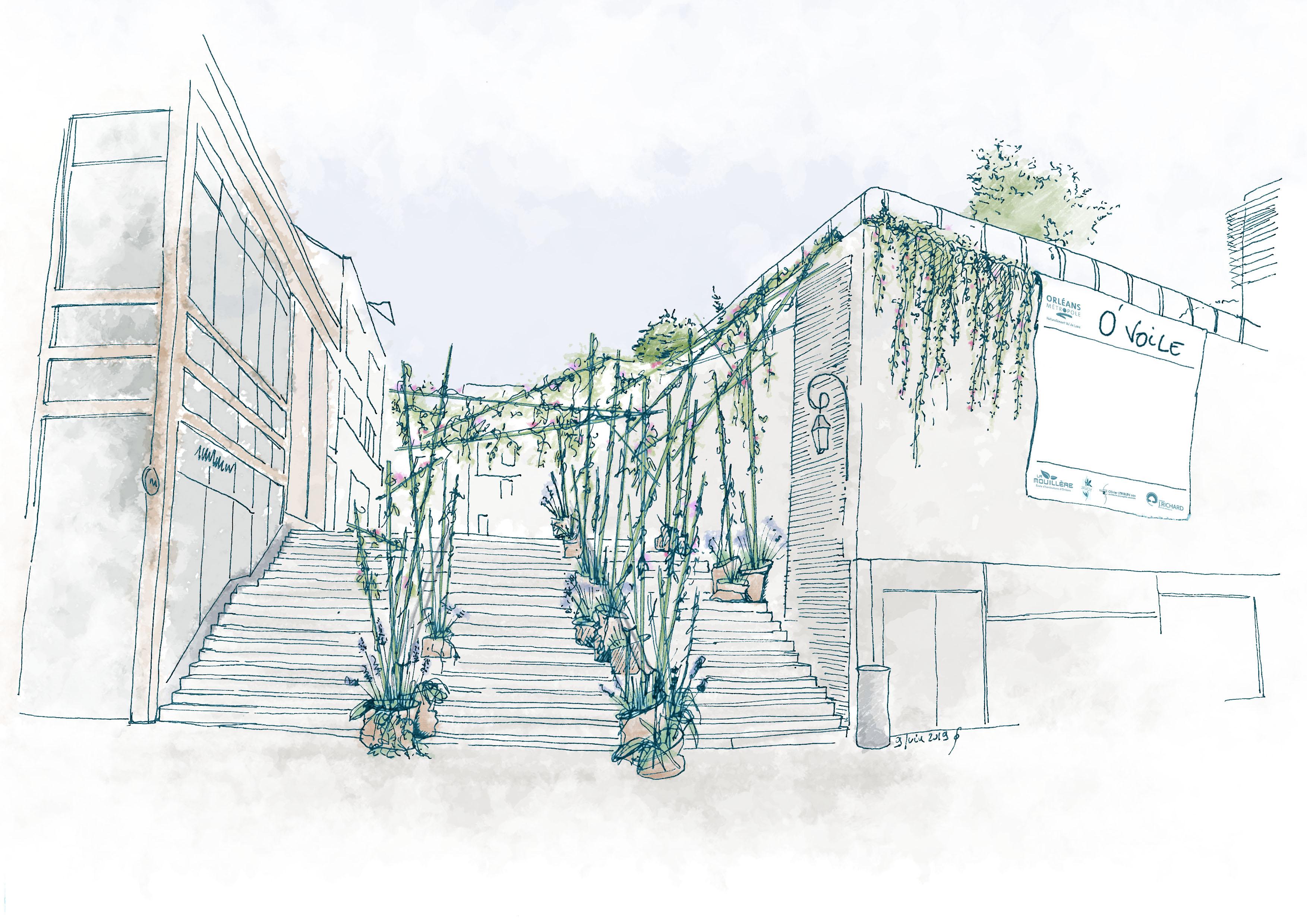 Croquis du jardin O'Toile à Orléans