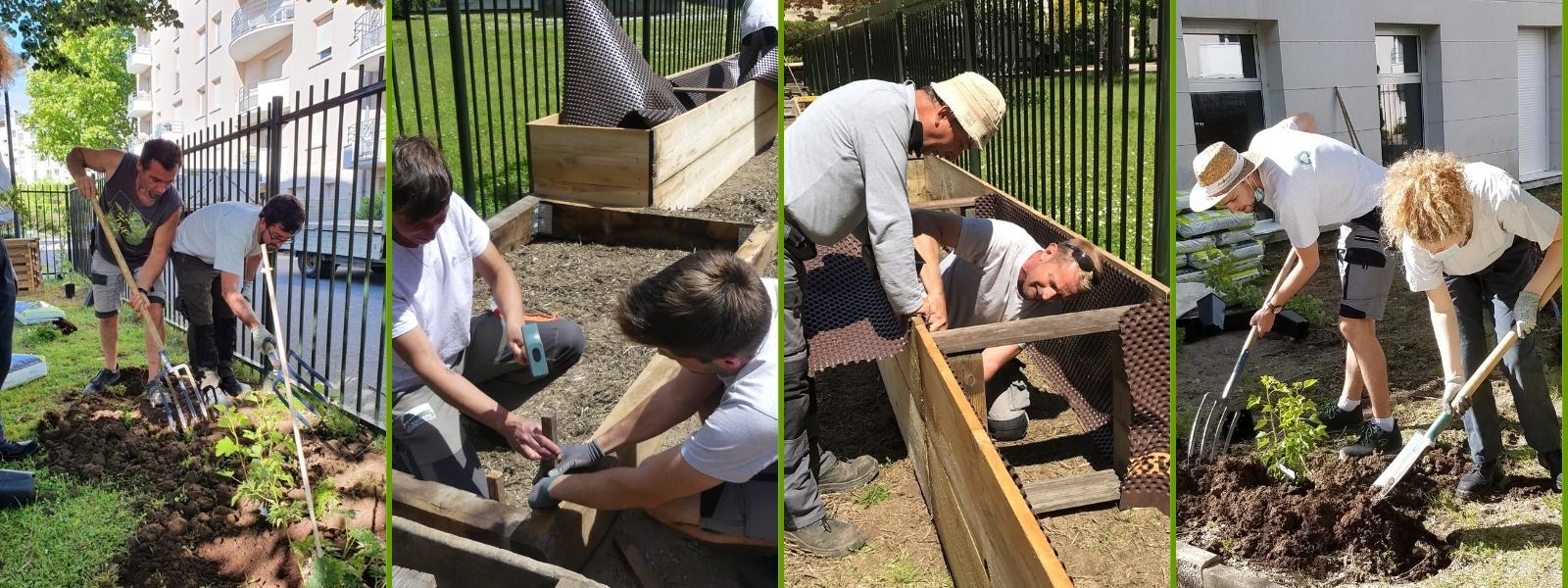 Travaux de plantation et de maçonnerie paysagère pour l'école Le Renard et La Rose
